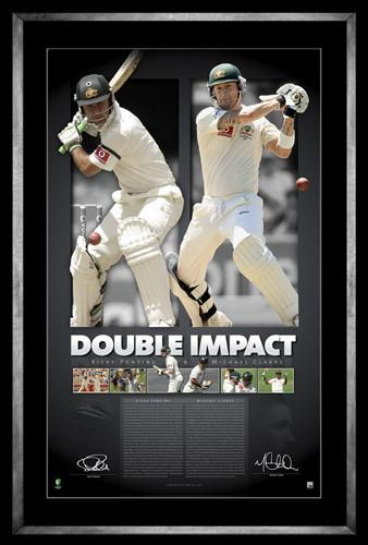 DOUBLE IMPACT-  Ricky Ponting and Michael Clark Signed Print Framed
