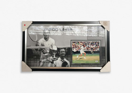 Rod Laver Grand Slam Wins Framed photograph signed by Rod