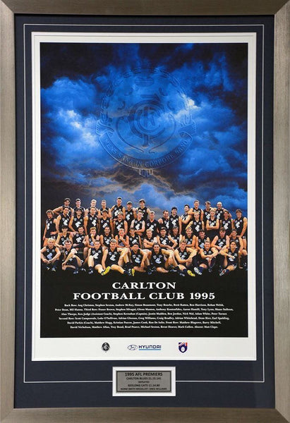 Carlton Blues Team Poster 1995 Premiers Matted Framed