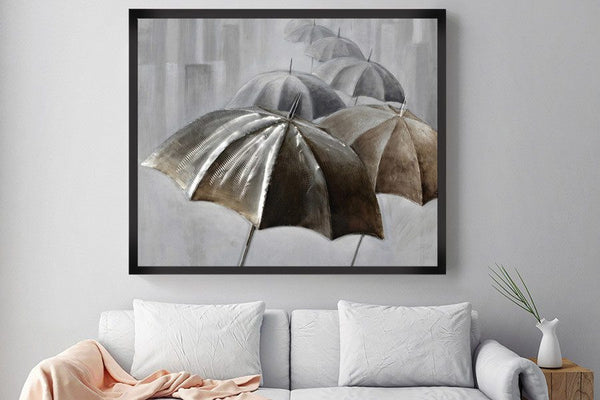 3D - Umbrellas in a line Framed Canvas