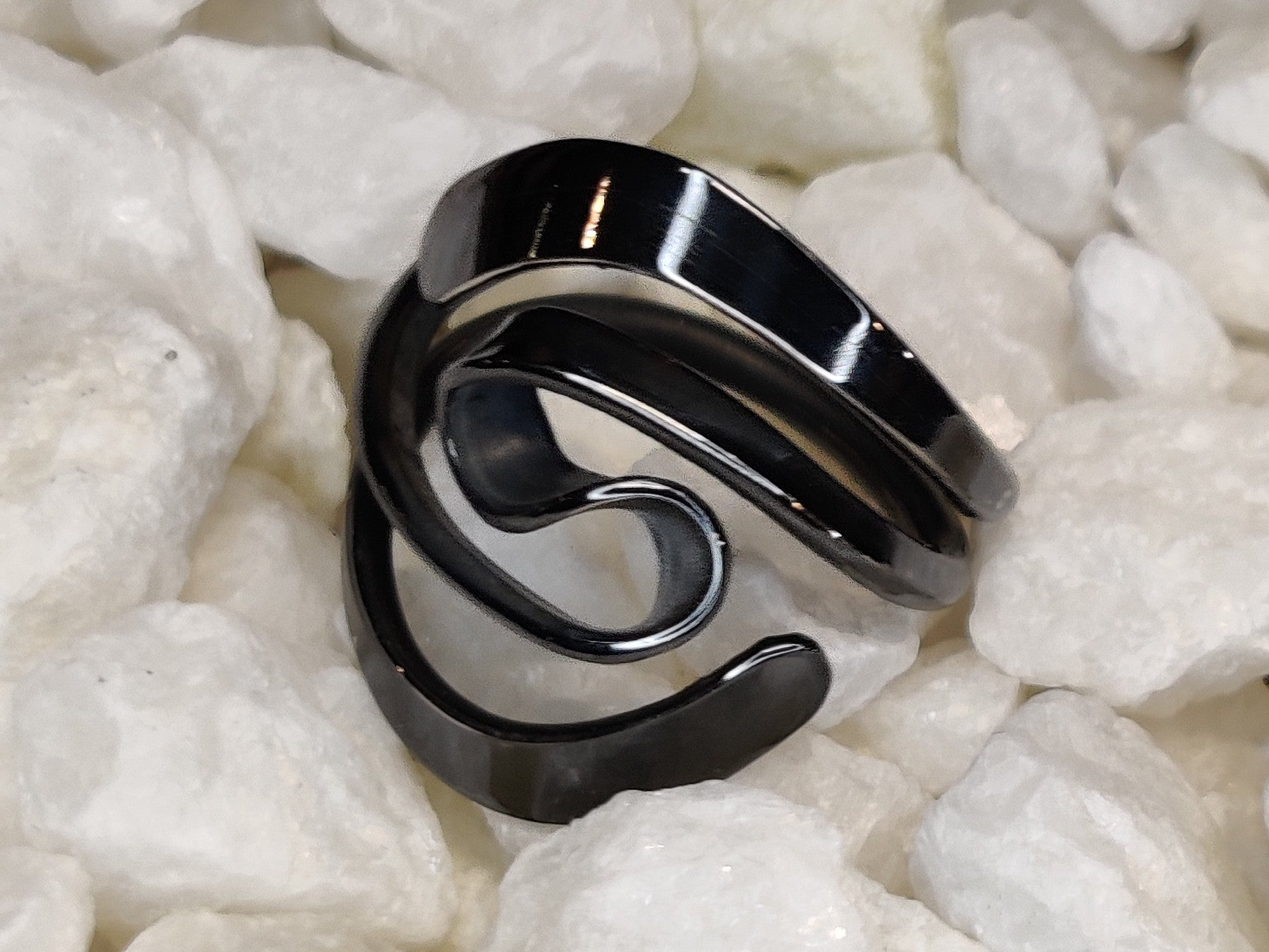 Blackened Niobium Two Turn Vortex Energy Ring™ With Wings