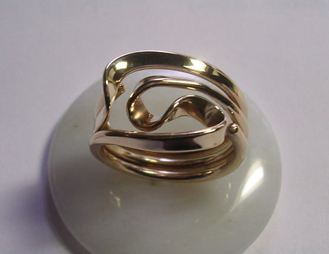 Steampunk Vortex Energy Ring™ Sterling with 14k Gold Rivets
