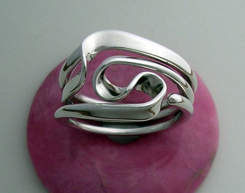 Set of 6 Single Style Love Knot Ring in 14 gauge Sterling Silver