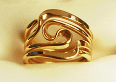 Three Turn Wave Energy Rings™In Solid 14K Yellow Gold