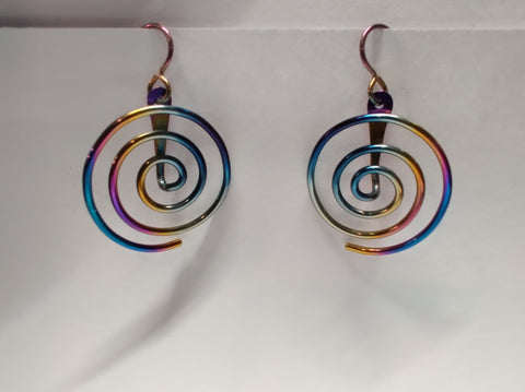 Tiny Sleeper Hoop earrings in Rainbow Niobium