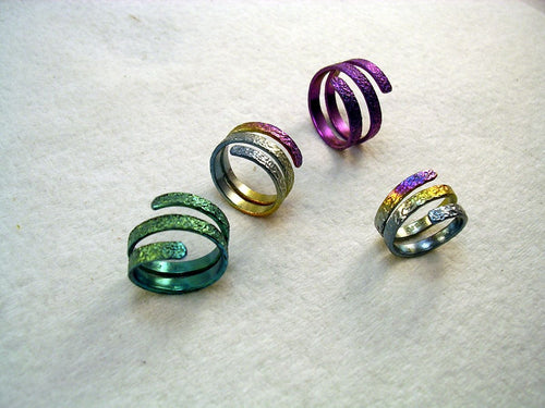 Niobium Two Turn Accelerator Energy Ring™ in Rainbow or Choice of Color Finish in Textured Niobium
