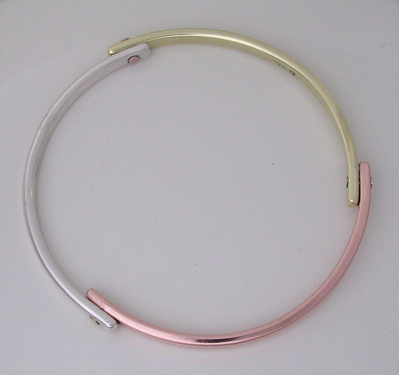 Tri-Metal Bangle Bracelet with Rivets