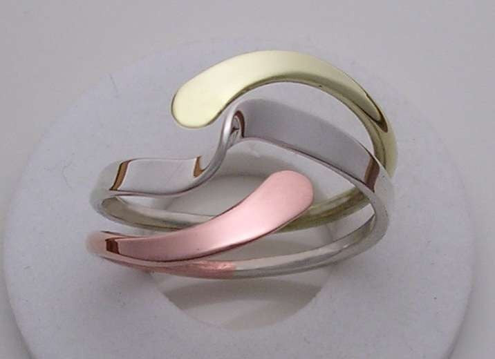 Tri-Metal Wave Energy Ring™ in Sterling Copper and Brass