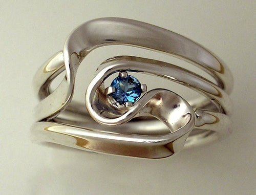 Hand Forged 3 Turn Vortex Energy Ring™ with Blue Topaz