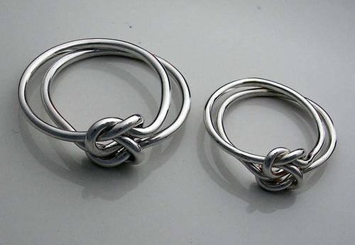 2 Double Love Knot Rings in Sterling Silver 16gauge and 18gauge