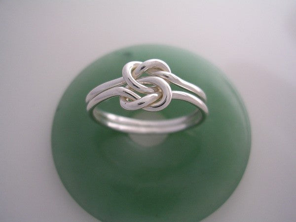 14 Gauge Double Love Knot Ring in Sterling Silver