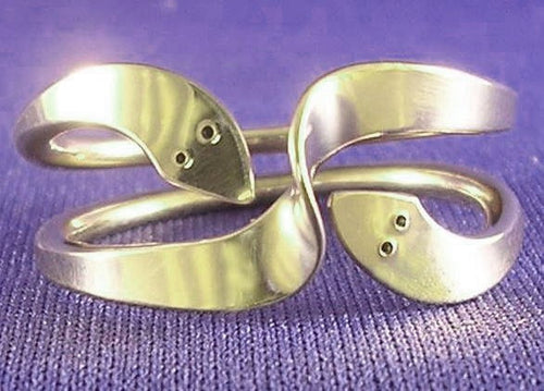 Two Turn Kundalini Wave Energy Ring in Sterling Silver