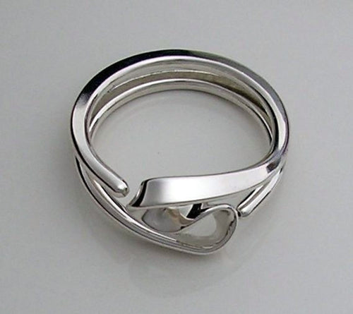 Energy Ring ™ Two Turn Vortex Style in 10 gauge Sterling Silver - Tesla Inspired Reiki Energy Ring