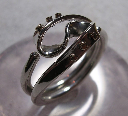 Steampunk Vortex Energy Ring™ with 14k Gold Rivets