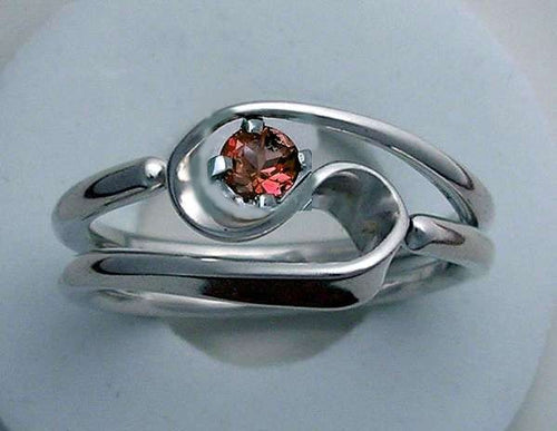 Hand Forged 2 Turn Vortex Energy Ring™ with Garnet