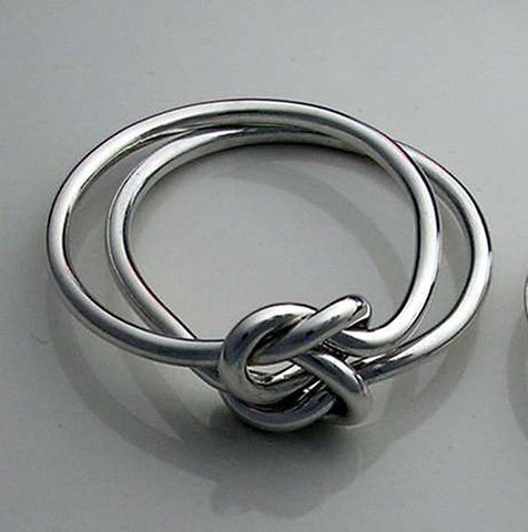 Celtic Double Love Knot Ring in 18 Gauge Sterling Silver