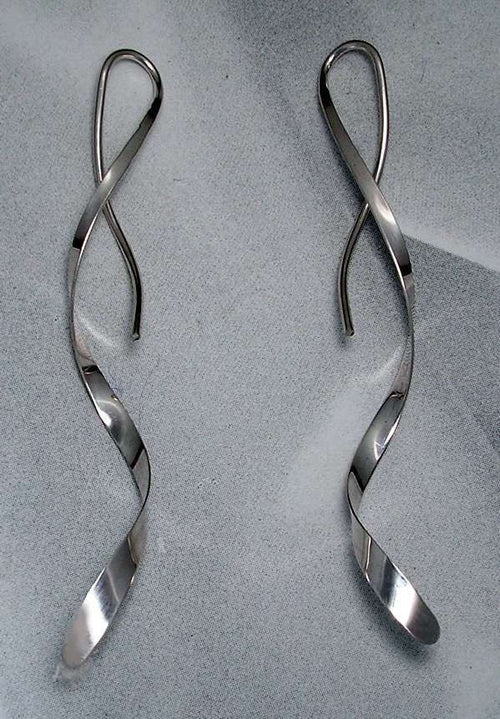 Spiral Earrings - One Piece Design in Sterling Silver.