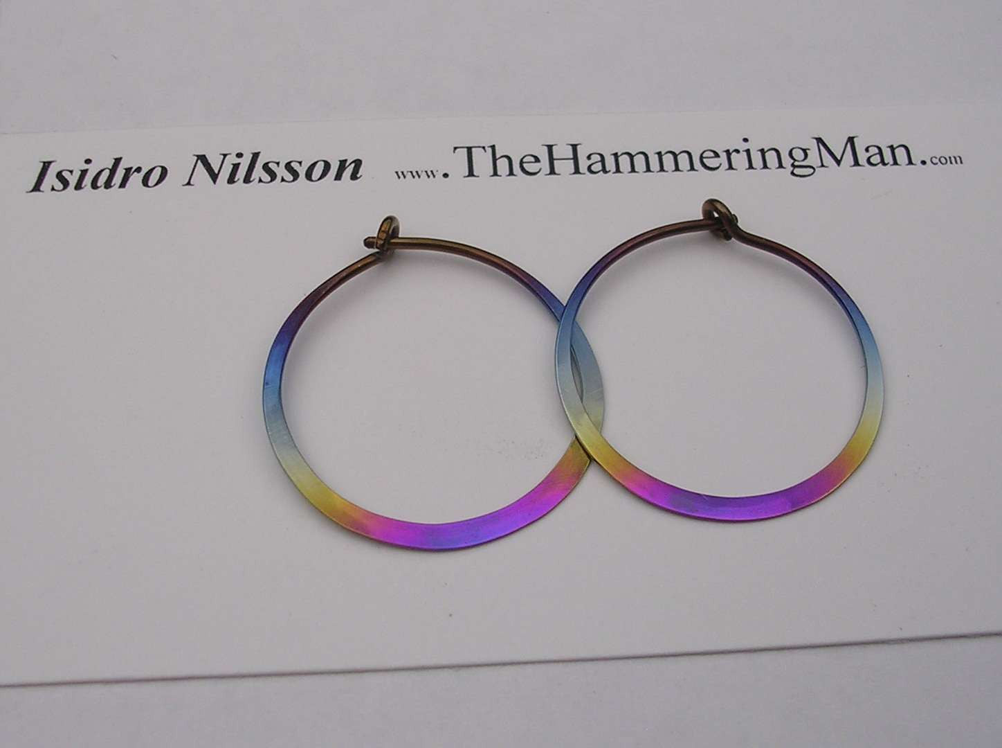 Niobium Rainbow Colored Hoop Earrings In Varioue Sizes