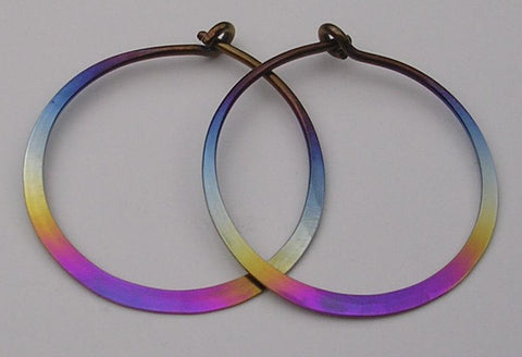Niobium  Rainbow Vortex Earrings 3 Inches - The Experience-
