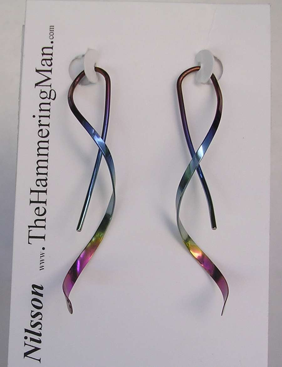 Spiral Earrings - One Piece Design in Pure Niobium