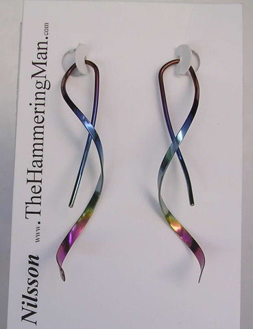 Spiral Niobium Earrings - Faraday Coil Style In Rainbow Finish