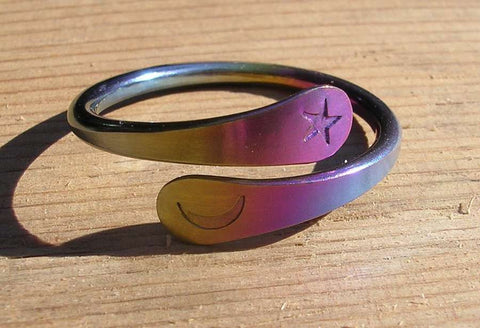 Tiny Sleeper Hoop earrings in Hypoallergenic Rainbow Niobium