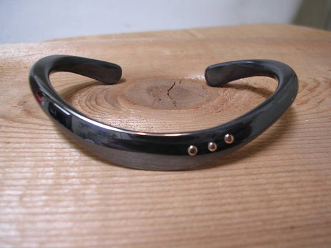 Pure Copper Bangle with 18 Sterling Silver Rivets