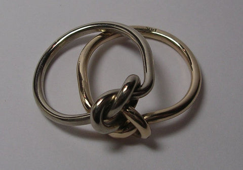 12 Gauge Double Love Knot Ring in 14K Yellow Gold & 14K White Palladium Gold