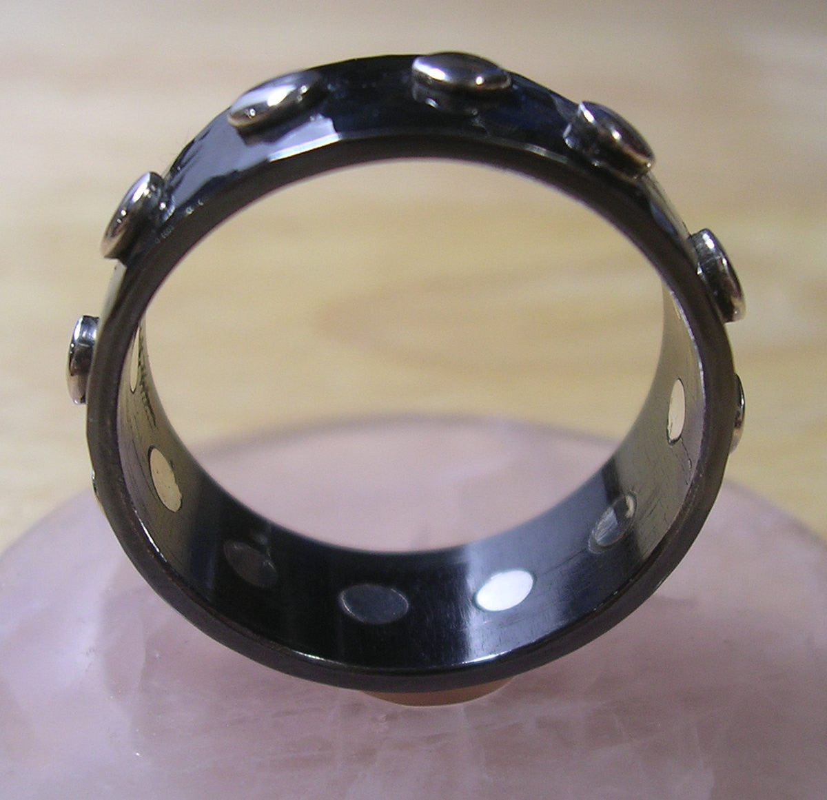 Black Niobium Ring with 12 Sterling Silver Rivets