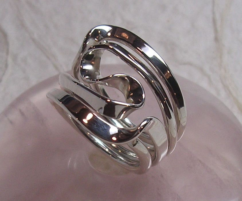 Sterling Silver Four Turn Vortex Energy Ring™.