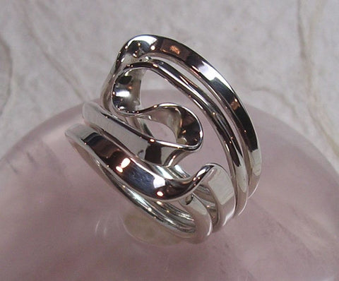 Triple Love Knot Ring in 14k Yellow, Rose and Palladium White Gold