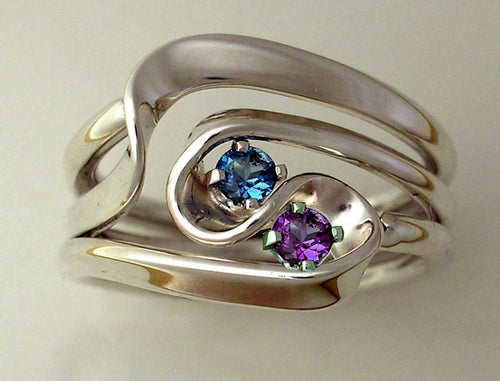 Hand Forged 3 Turn Vortex Energy Ring™ with Blue Topaz and Alexandrite