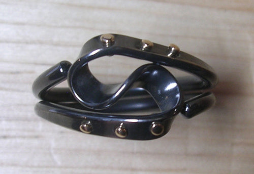 Blackened Niobium Steampunk Vortex Energy Ring™ with 14k Gold Rivets