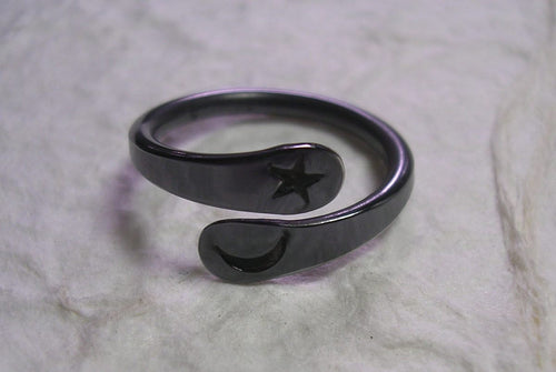 Black Niobium Moon Star Ring Hand Forged