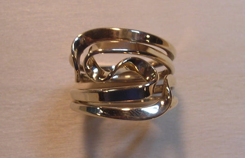 Black Niobium and Sterling Silver Band Ring