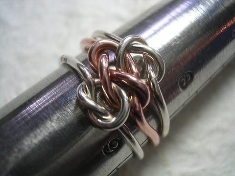 Heavy 12 Gauge Double Love Knot Ring in Sterling Silver