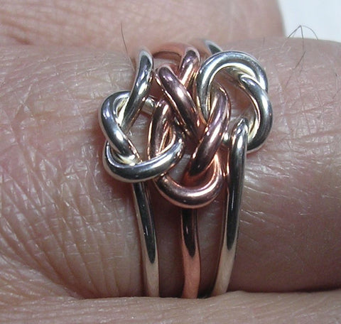 12 Rivet Ring in Copper and Sterling