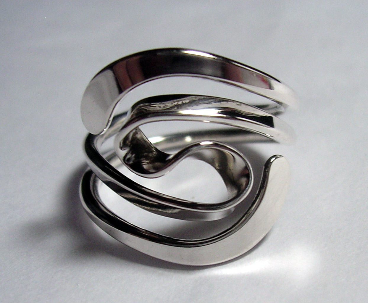 Winged Two Turn Vortex Energy Ring™  in Sterling Silver