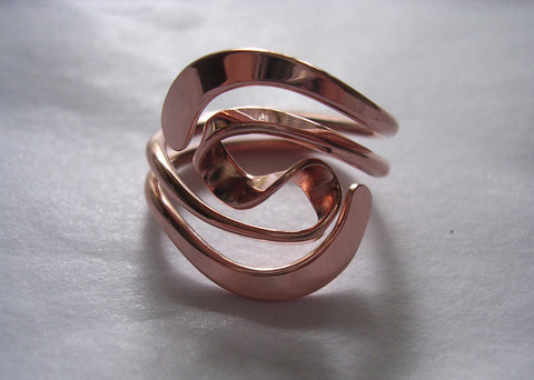 Double Love Knot Ring in Solid 14K Yellow Gold & Sterling Silver - 16 Gauge - Gold Love Knot Ring