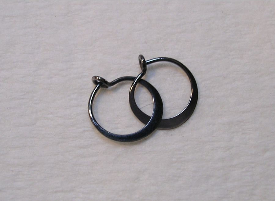 Tiny SLEEPER Hoop Earrings in Blackened Niobium