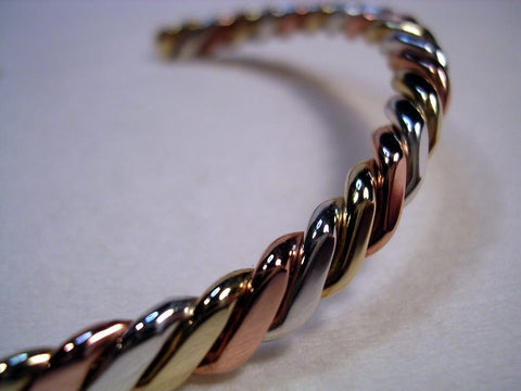 Silver Button Copper Bracelet