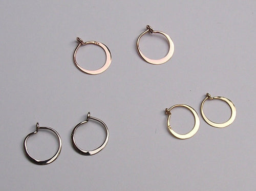 Tiny Sleepers - Hoop Earrings in Solid 14k Gold - Yellow, White or Rose Gold