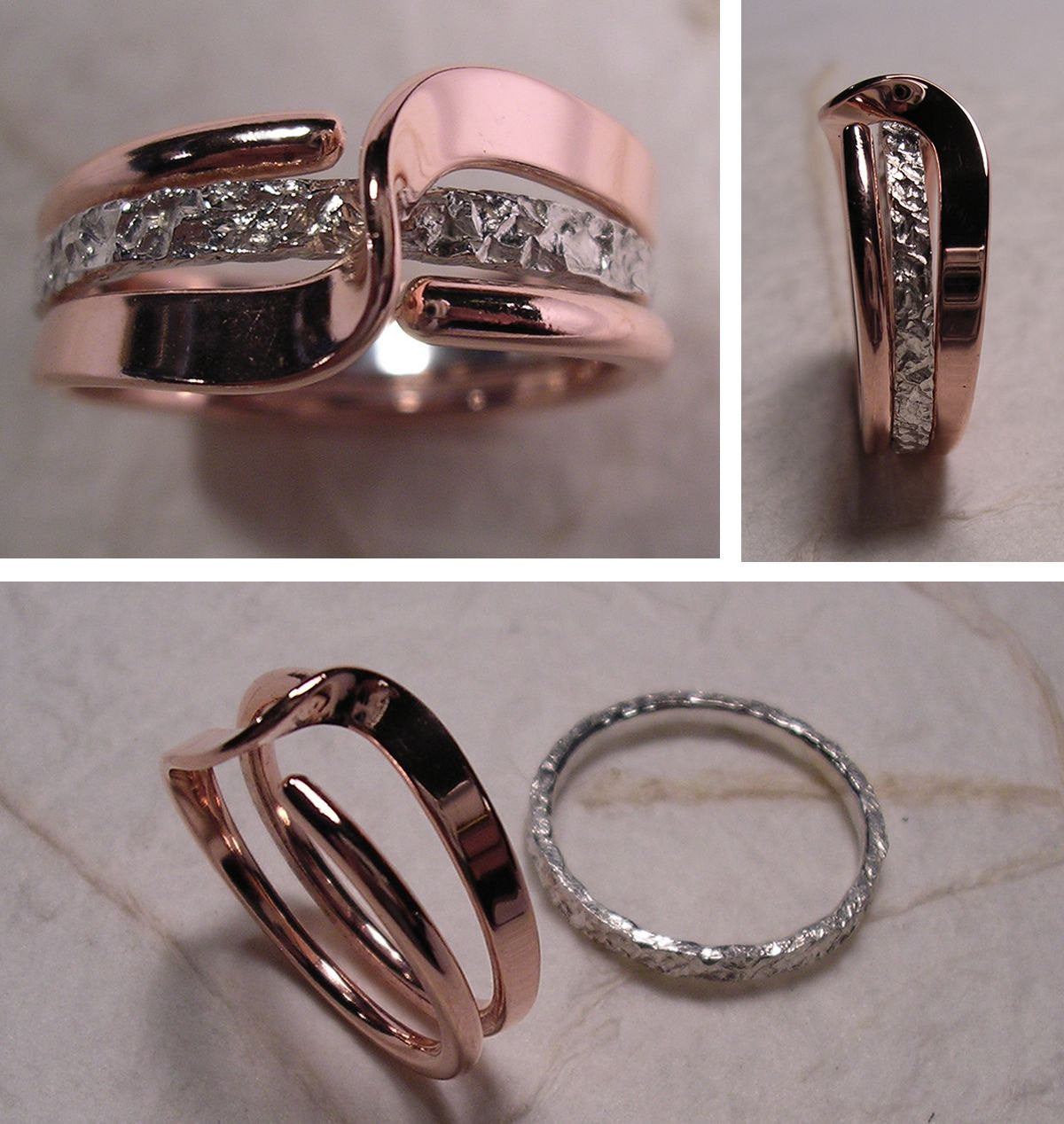 Mock Pavé™ Textured Sterling Band Within A Copper Wave Energy Ring