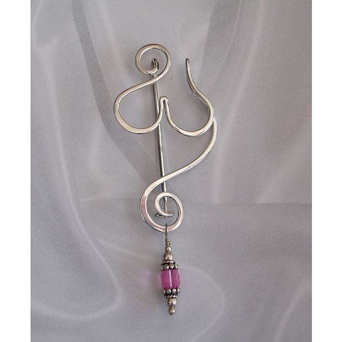 Goddess Fibula Pendant or Necklace in Sterling Silver with Removable Accent