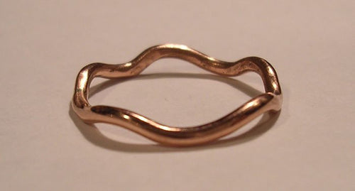 A Band of subtle Waves in Pure Copper, Sterling silver or Brass