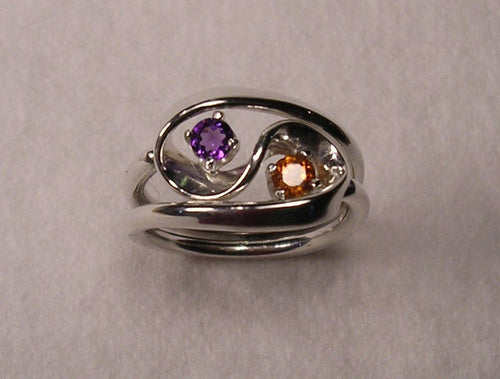 Violet Amethyst and Mandarine Garnet Set in The Two Turn Vortex Energy Rings ™ ©