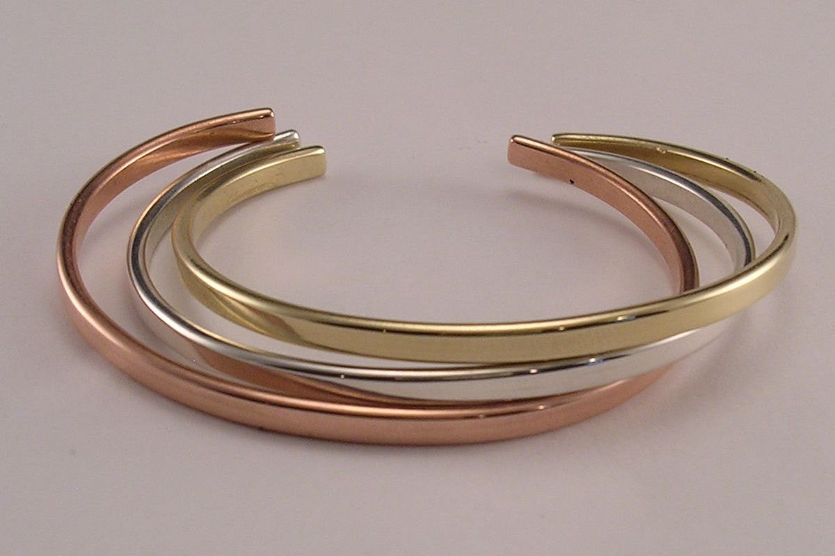 Cuff Bracelet in Your Choice of Pure Copper, Sterling Silver, Brass or Solid 14k Yellow Gold