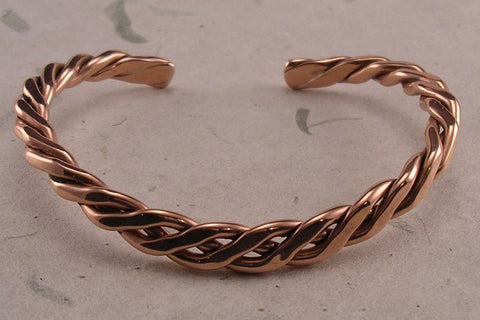 Pure Copper Classic Bracelet in the Heavier 4 gauge Copper with Two Magnets