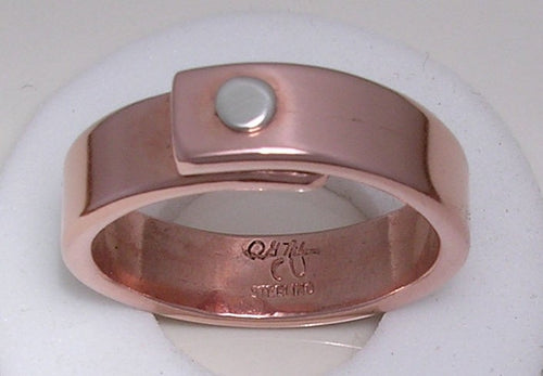 The One Rivet Ring - Sterling Rivet On Copper Band