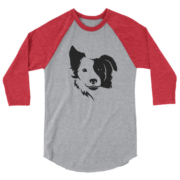 Border Collie Face 3/4 sleeve raglan shirt
